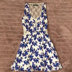 Guess Blue white floral lace back dress Small
